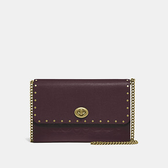Image of Coach Australia  MARLOW TURNLOCK CHAIN CROSSBODY IN SIGNATURE LEATHER WITH RIVETS