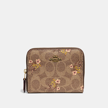 Image of Coach Australia  SMALL ZIP AROUND WALLET IN SIGNATURE CANVAS WITH FLORAL PRINT