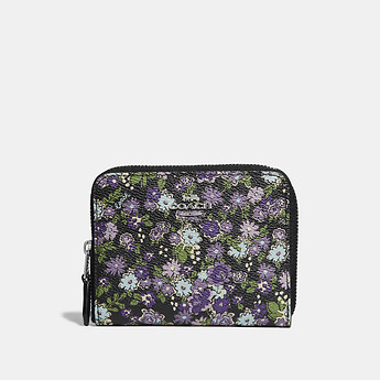 Image of Coach Australia  SMALL ZIP AROUND WALLET WITH POSEY PRINT
