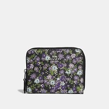 Image of Coach Australia SV/BLACK POSEY PRINT SMALL ZIP AROUND WALLET WITH POSEY PRINT