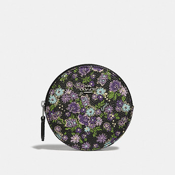 Image of Coach Australia  ROUND COIN CASE WITH POSEY CLUSTER PRINT