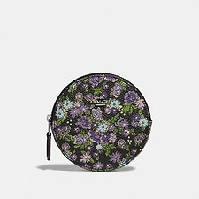 Image of Coach Australia SV/BLACK ROUND COIN CASE WITH POSEY CLUSTER PRINT