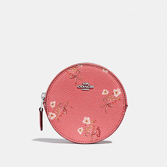 Image of Coach Australia  ROUND COIN CASE WITH FLORAL BOW PRINT