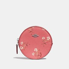 Image of Coach Australia SV/BRIGHT CORAL FLORAL BOW ROUND COIN CASE WITH FLORAL BOW PRINT