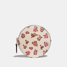 Image of Coach Australia GD/CHALK VINTAGE ROSE ROUND COIN CASE WITH MINI VINTAGE ROSE PRINT
