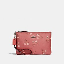 Image of Coach Australia SV/BRIGHT CORAL FLORAL BOW SMALL WRISTLET WITH FLORAL BOW PRINT