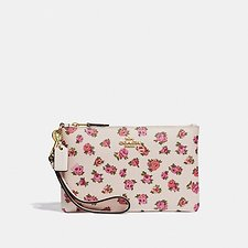 Image of Coach Australia GD/CHALK VINTAGE ROSE SMALL WRISTLET WITH MINI VINTAGE ROSE PRINT