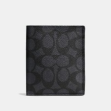 Image of Coach Australia CHARCOAL SLIM WALLET IN SIGNATURE CANVAS