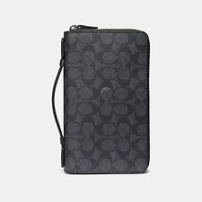 Image of Coach Australia CHARCOAL DOUBLE ZIP TRAVEL ORGANIZER IN SIGNATURE CANVAS