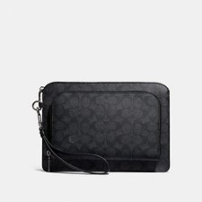 Image of Coach Australia CHARCOAL KENNEDY POUCH IN SIGNATURE CANVAS