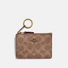Image of Coach Australia B4/TAN RUST MINI SKINNY ID CASE IN COLORBLOCK SIGNATURE CANVAS