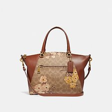 Image of Coach Australia B4/TAN RUST BOW PRAIRIE SATCHEL IN SIGNATURE CANVAS WITH PRAIRIE FLORAL PRINT