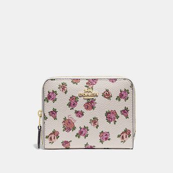 Image of Coach Australia  SMALL ZIP AROUND WALLET WITH MINI VINTAGE ROSE PRINT