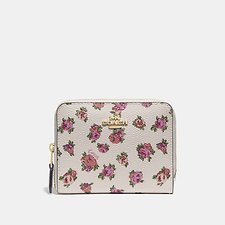 Image of Coach Australia GD/CHALK VINTAGE ROSE SMALL ZIP AROUND WALLET WITH MINI VINTAGE ROSE PRINT