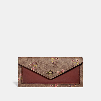 Image of Coach Australia  SOFT WALLET IN SIGNATURE CANVAS WITH FLORAL PRINT