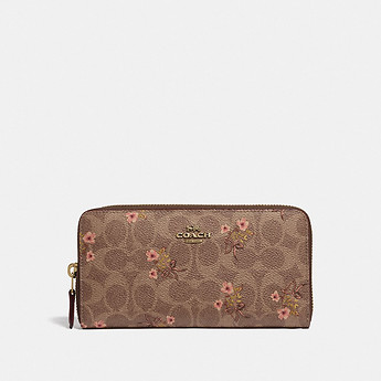 Image of Coach Australia  ACCORDION ZIP WALLET IN SIGNATURE CANVAS WITH FLORAL PRINT