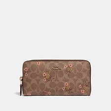 Image of Coach Australia B4/TAN ACCORDION ZIP WALLET IN SIGNATURE CANVAS WITH FLORAL PRINT