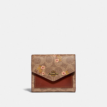 Image of Coach Australia  SMALL WALLET IN SIGNATURE CANVAS WITH FLORAL PRINT