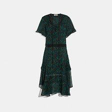 Image of Coach Australia NAVY/GREEN EMBELLISHED RETRO FLORAL DRESS