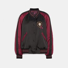 Image of Coach Australia BLACK/WINE REVERSIBLE VARSITY JACKET