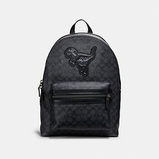 Image of Coach Australia JI/CHARCOAL ACADEMY BACKPACK IN SIGNATURE CANVAS WITH REXY
