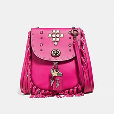 Image of Coach Australia V5/FUCHSIA FRINGE SADDLE BAG WITH PYRAMID RIVETS