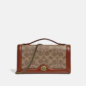 Image of Coach Australia  RILEY CHAIN CLUTCH IN COLORBLOCK SIGNATURE CANVAS