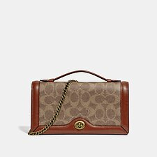 Image of Coach Australia B4/TAN RUST RILEY CHAIN CLUTCH IN COLORBLOCK SIGNATURE CANVAS