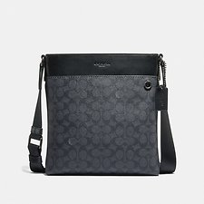 Image of Coach Australia QB/CHARCOAL METROPOLITAN SLIM MESSENGER IN SIGNATURE CANVAS