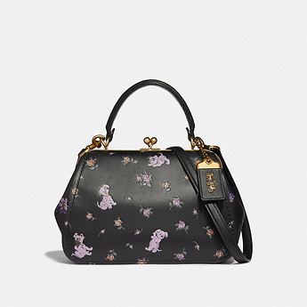 Image of Coach Australia  DISNEY X COACH FRAME BAG 23 WITH DALMATIAN FLORAL PRINT
