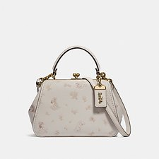 Image of Coach Australia B4/CHALK DISNEY X COACH FRAME BAG 23 WITH DALMATIAN FLORAL PRINT