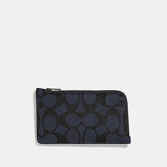Image of Coach Australia  L-ZIP CARD CASE IN SIGNATURE CANVAS