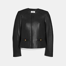 Image of Coach Australia BLACK TAILORED LEATHER JACKET