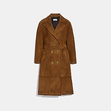 Image of Coach Australia CAPPUCCINO SUEDE TRENCH COAT