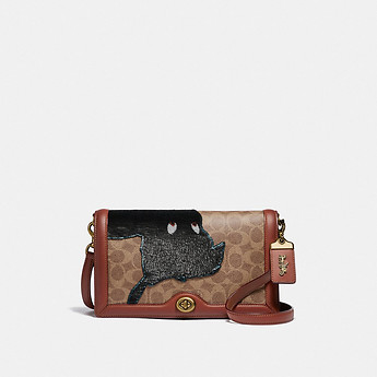 Image of Coach Australia  DISNEY X COACH SIGNATURE RILEY WITH EMBELLISHED PETER PAN