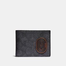 Image of Coach Australia CHARCOAL/SPORT BLUE SLIM BILLFOLD WALLET IN SIGNATURE CANVAS WITH COACH PATCH