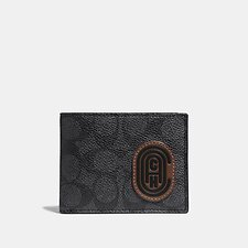 Image of Coach Australia PVL SLIM BILLFOLD WALLET IN SIGNATURE CANVAS WITH COACH PATCH