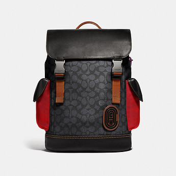 Image of Coach Australia  RIVINGTON BACKPACK IN SIGNATURE CANVAS WITH COACH PATCH