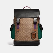 Image of Coach Australia JI/KHAKI RIVINGTON BACKPACK IN SIGNATURE CANVAS WITH COACH PATCH