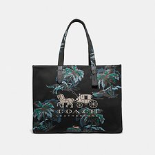 Image of Coach Australia JI/BLACK NAVY DINO PALM TOTE 42 WITH HORSE AND CARRIAGE
