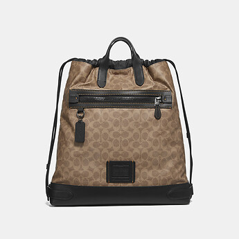Image of Coach Australia  ACADEMY DRAWSTRING BACKPACK IN SIGNATURE CANVAS