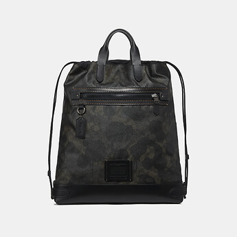 Image of Coach Australia  ACADEMY DRAWSTRING BACKPACK IN SIGNATURE CANVAS WITH WILD BEAST PRINT