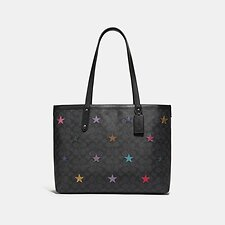 Image of Coach Australia V5/CHARCOAL MULTI CENTRAL TOTE IN SIGNATURE CANVAS WITH STAR APPLIQUE AND SNAKESKIN DETAIL