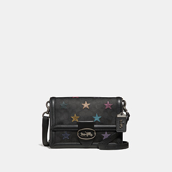 Image of Coach Australia  RILEY SHOULDER BAG IN SIGNATURE CANVAS WITH STAR APPLIQUE AND SNAKESKIN DETAIL
