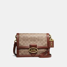 Image of Coach Australia B4/TAN RUST RILEY SHOULDER BAG IN SIGNATURE CANVAS