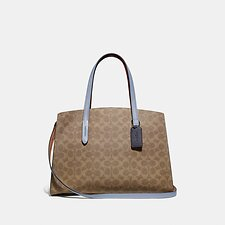 Image of Coach Australia V5/TAN MIST INK CHARLIE CARRYALL IN COLORBLOCK SIGNATURE CANVAS