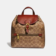 Image of Coach Australia B4/TAN RUST EVIE BACKPACK 22 IN SIGNATURE CANVAS