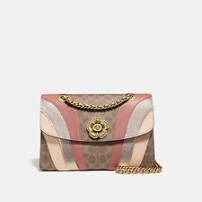 Image of Coach Australia B4/TAN MULTI PARKER IN SIGNATURE CANVAS WITH WAVE PATCHWORK