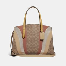 Image of Coach Australia B4/TAN MULTI CHARLIE CARRYALL IN SIGNATURE CANVAS WITH WAVE PATCHWORK