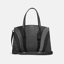 Image of Coach Australia V5/CHARCOAL MULTI CHARLIE CARRYALL IN SIGNATURE CANVAS WITH WAVE PATCHWORK